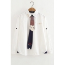 Star Printed Cat Embroidered Tie Front Lapel Collar Long Sleeve Button Front Shirt