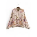 Contrast Striped Trim Floral Printed Stand Up Collar Long Sleeve Zip Up Jacket