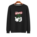 ENJOY WEED Letter Printed Round Neck Long Sleeve Sweatshirt