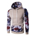 CMenswear Color Block Painting Printed Long Sleeve Slim Hoodie