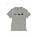 LOVE YOURSELF Letter Printed Round Neck Short Sleeve T-Shirt