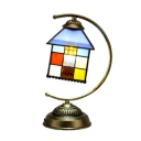 Lodge Style Tiffany Stained Glass Square Table Lamp in House Shape with Arc Arm