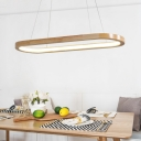 Sandal Wood Oval Led Chandelier in Modern Style 33W/41W Oak Led Suspended Lights for Dining Room Kitchen Office Conference Room