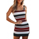 Color Block Striped Pattern Round Neck Sleeveless Mini Bodycon Dress