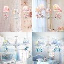 Blue/Pink Cartoon Horse Lighting Fixture Fabric Shade 3/5 Lights Suspension Light for Kindergarten