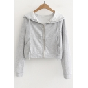 Zip Up Long Sleeve Plain Leisure Crop Hooded Coat