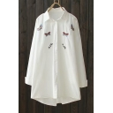 Butterfly Letter Embroidered Lapel Collar Long Sleeve Button Front Tunic Shirt