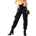 High Waist Plain Zipper Embellished Leisure Cargo Pants with Flap Pockets