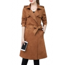 Suede Notched Lapel Collar Long Sleeve Plain Tie Waist Tunic Coat
