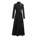 Stand Up Collar Zip Up Front Long Sleeve Plain Tunic Woolen Coat