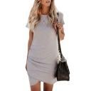 Round Neck Short Sleeve Plain Asymmetric Hem Mini Pencil Dress