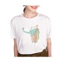 Cartoon Animals Printed Round Neck Short Sleeve Leisure T-Shirt