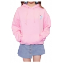 STAFF Letter Ice Cream Embroidered Relaxed Long Sleeve Hoodie