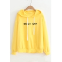 RABBIT JUMP Letter Embroidered Ears Embellished Hood Long Sleeve Hoodie