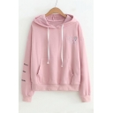 Cartoon Character SAD Letter Embroidered Long Sleeve Loose Hoodie