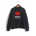 Heart Letter Graphic Printed High Neck Long Sleeve Sweatshirt