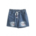 Loose Cat Embroidered Drawstring Waist Leisure Summer Denim Shorts