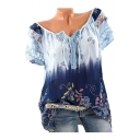 Floral Printed Tie Dye V Neck Short Sleeve Leisure T-Shirt