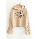 MAKE UP Letter Printed Long Sleeve Crop Hoodie