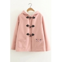 Toggle Button Front Long Sleeve Cat Pattern Hooded Coat