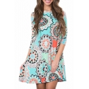 Tribal Printed Round Neck 3/4 Length Sleeve Mini A-Line Dress