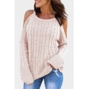 Cold Shoulder Plain Long Sleeve Round Neck Chic Sweater