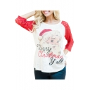 Lace Patched 3/4 Length Sleeve Round Neck Character Letter Printed T-Shirt