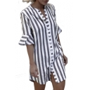 Button Front Stand Up Collar Striped Printed Half Sleeve Mini Shirt Dress