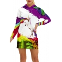 Color Block Unicorn Printed Leisure Long Sleeve Mini Hooded Dress