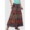 Tribal Printed Loose Tie Waist Maxi A-Line Skirt