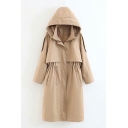 Plain Long Sleeve Drawstring Waist Tunic Hooded Trench Coat