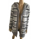 Geometric Pattern Warm Long Sleeve Button Front Hooded Cardigan