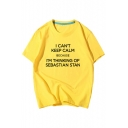 I CAN'T KEEP CALM Letter Printed Round Neck Short Sleeve Tee