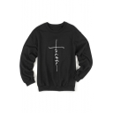 FAITH Letter Printed Round Neck Long Sleeve Sweatshirt