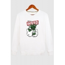 WEED Letter Bottle Printed Round Neck Long Sleeve Sweatshirt