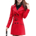 Notched Lapel Collar Long Sleeve Double Breasted Long Sleeve Tunic Coat with Belt