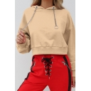 Chain Drawstring Hood Long Sleeve Crop Hoodie