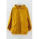 Contrast Striped Patched Long Sleeve Button Closure Hooded Jacket