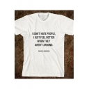 I DON'T HATE PEOPLE Letter Printed Round Neck Short Sleeve T-Shirt