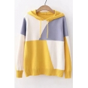 New Fashion Color Block Long Sleeve Hooded Sweater