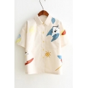 Cartoon Dog Sun Printed Lapel Collar Short Sleeve Button Front Shirt