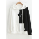 Color Block Star Embroidered Long Sleeve Hoodie