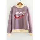 Letter Octopus Printed Contrast Trim Round Neck Long Sleeve Sweatshirt