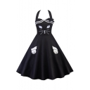 Vintage Cat Embroidered Halter Sleeveless Midi Flare Dress