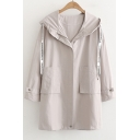 Letter Printed Drawstring Hood Zip Up Long Sleeve Loose Hooded Coat
