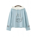 Contrast Hood Cat Fish Embroidered Long Sleeve Loose Hoodie