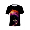 Cool Astronaut Printed Round Neck Short Sleeve T-Shirt