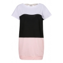 Round Neck Short Sleeve Color Block Tie Back Mini T-Shirt Dress