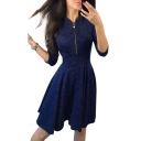Zipper Front V Neck Long Sleeve Slim Plain Mini A-Line Dress