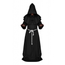 Long Sleeve Plain Tie Waist Pastor Cosplay Uniform Hooded Cape Coat